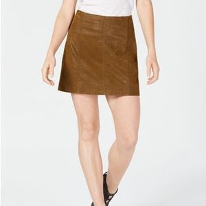 Tan vegan leather mini skirt